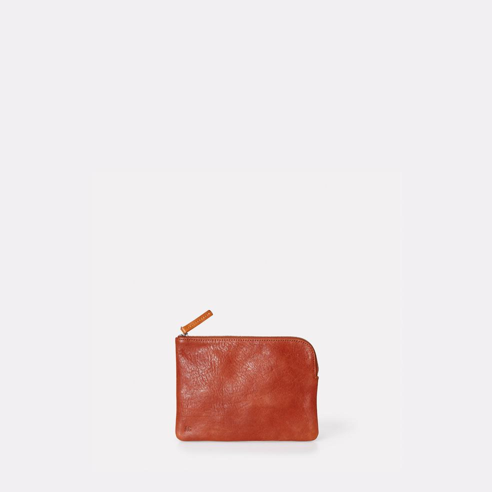Tina Vegetable Tanned Leather Zip Round Pouch in Brandy for Women