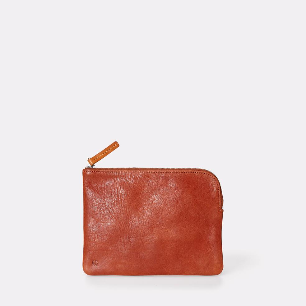 Jan Vegetable Tanned Leather Zip-Round Purse in Brandy for Women