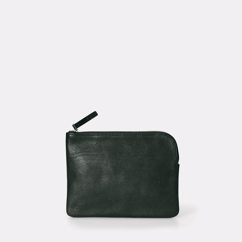 Jan Vegetable Tanned Leather Zip-Round Purse in Dark Green for Women