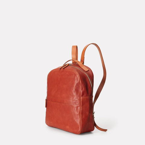 Sandy Small Vegetable Tanned Leather Backpack With Leather Straps in Brandy for Women