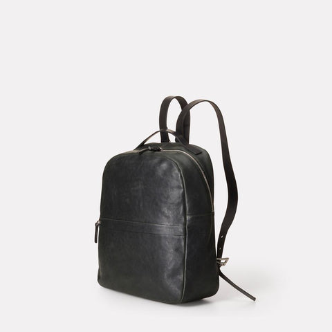 Sandy Small Vegetable Tanned Leather Backpack With Leather Straps in Dark Green for Women
