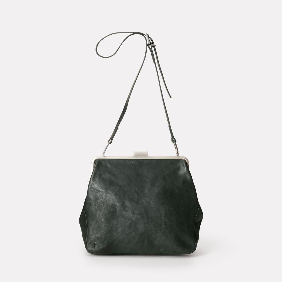Cilla Calvert Leather Frame Bag in Dark Green | Ally Capellino