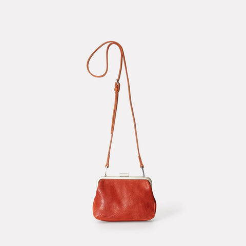 Dusty Vegetable Tanned Leather Mini Shoulder for Crossbody Frame Bag in Brandy for Women