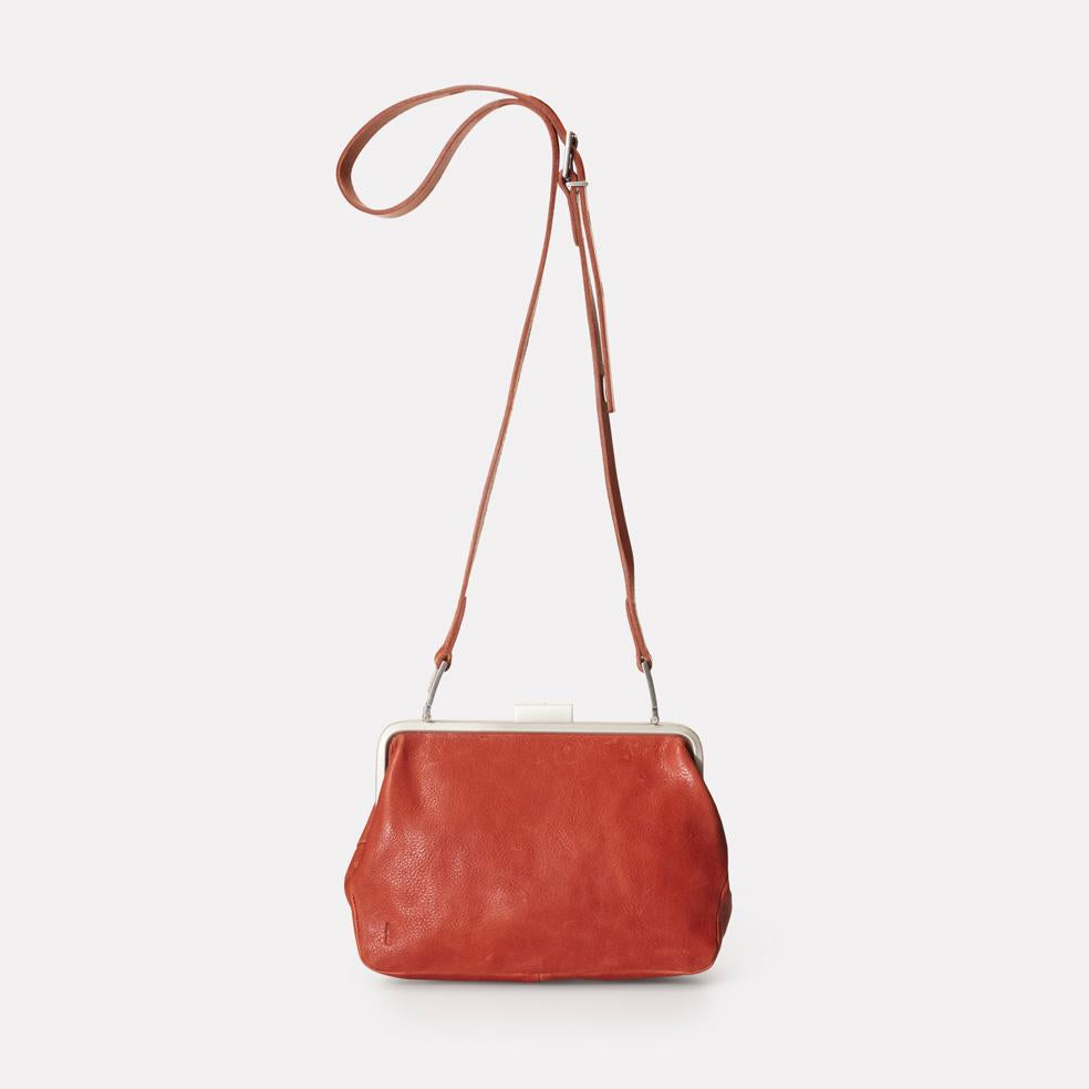 Shirley Calvert Leather Frame Bag in Brandy