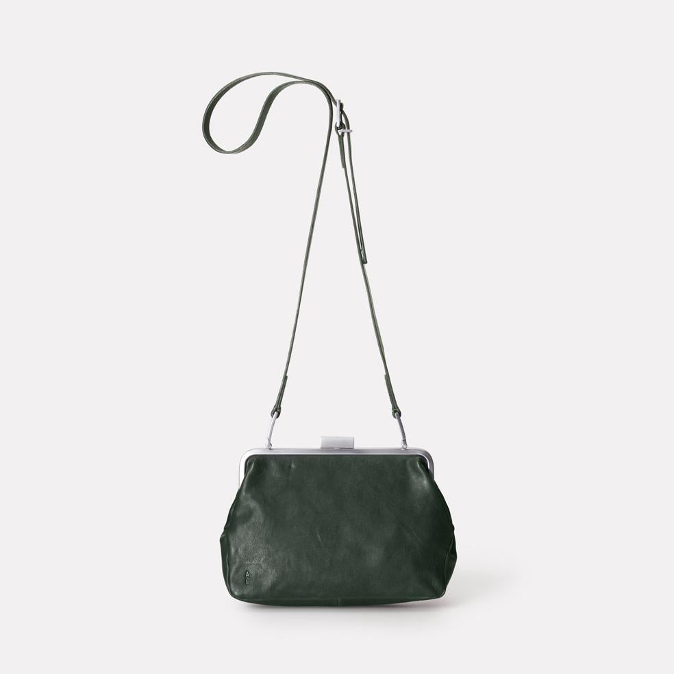 Shirley Calvert Leather Frame Bag in Dark Green