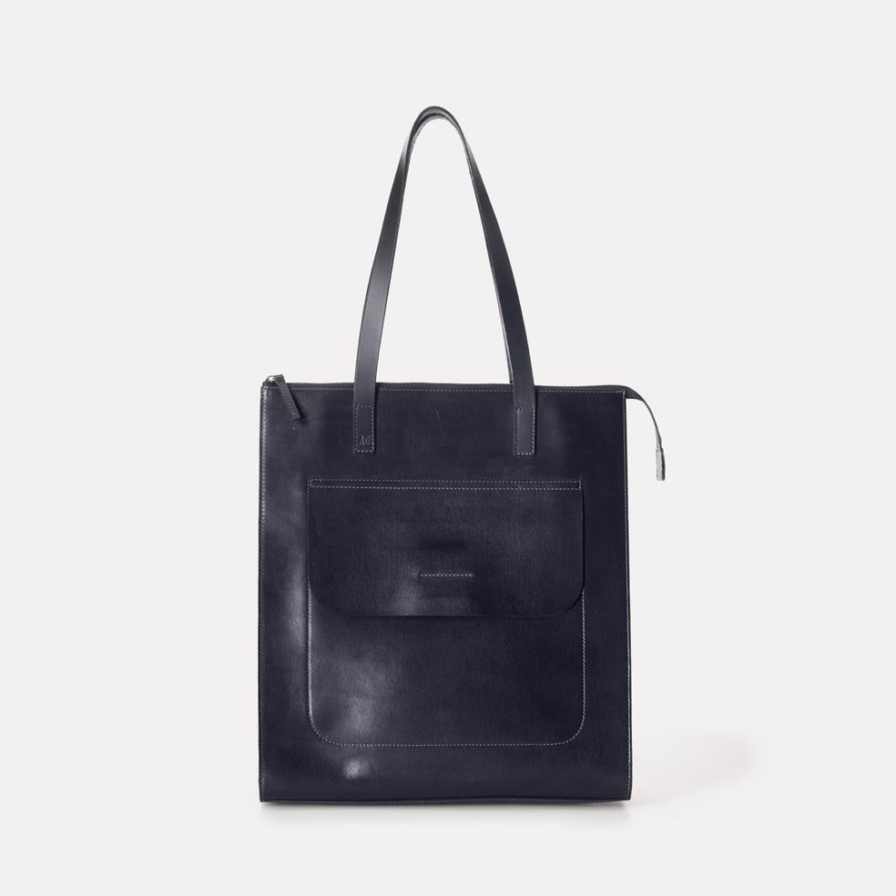 Silvia Polished Leather Tote Bag in Navy For Women