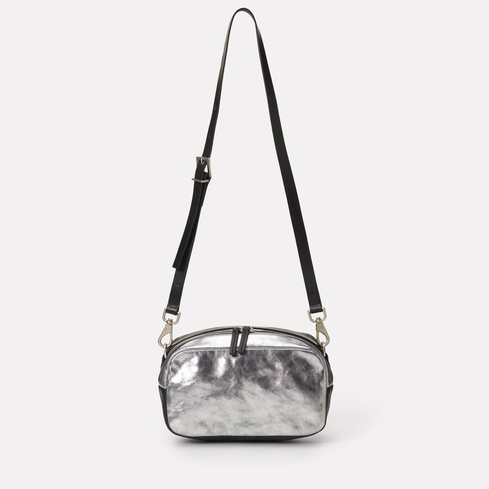 Ginger Leather Crossbody Bag in Silver & Navy