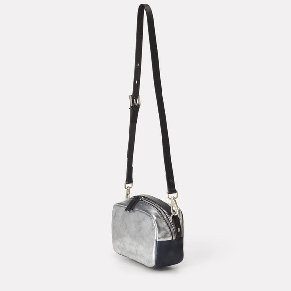 537727538a8b Ginger Leather Crossbody Bag in Silver   Navy