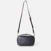 Ginger Metallic Leather Zip-Up Crossbody Bag With Adjustable Leather Strap in Silver And Navy for Women