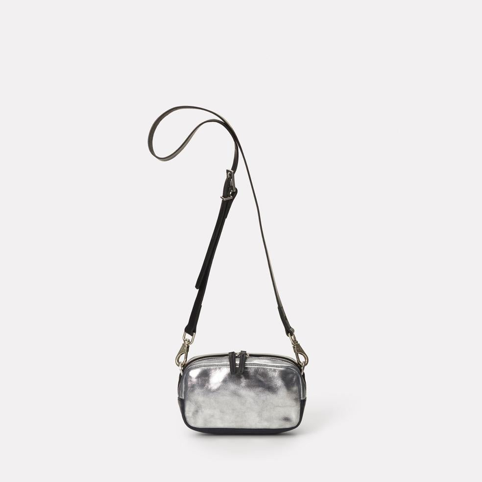Mini Ginger Leather Crossbody Bag in Silver & Navy
