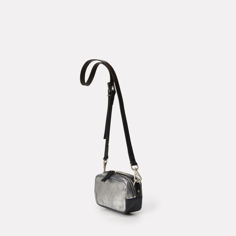 Mini Ginger Metallic Leather Zip-Up Mini Crossbody Bag With Adjustable Leather Strap in Silver And Navy for Women