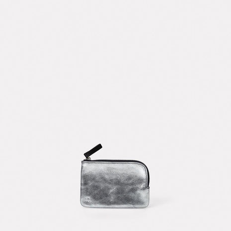 Tina Leather Pouch in Silver & Navy