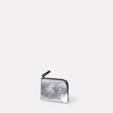 Tina Metallic Leather Zip Round Pouch in Silver and Navy for Women