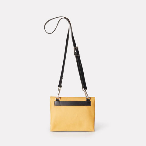 Mini Valerie Pebble Grain Leather Mini Fold Crossbody Bag in Mustard Yellow For Women