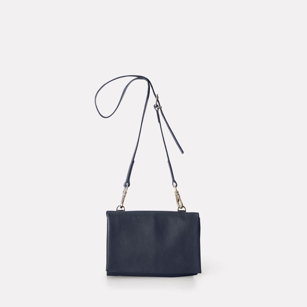 Mini Valerie Pebble Grain Leather Mini Fold Crossbody Bag in Navy For Women