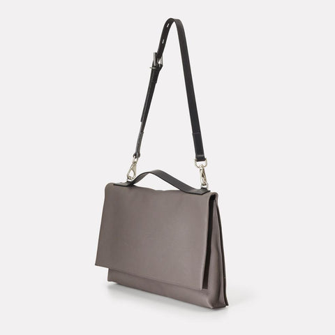 Violet Large Pebble Grain Leather Fold Bag in Grey For Women