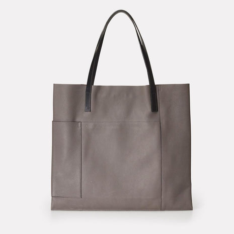 Verity Leather Tote in Grey