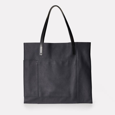 Verity Pebble Grain Leather Large Tote in Navy For Women