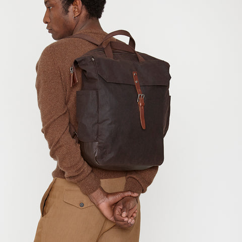 Fin Waxed Cotton Utility Rucksack in Dark Brown
