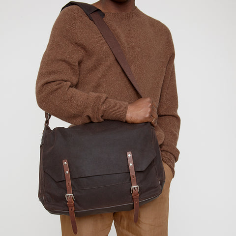 Jeremy Medium Waxed Cotton Satchel in Dark Brown