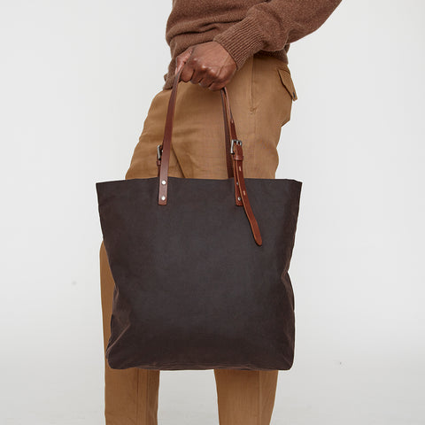 Natalie Waxed Cotton Tote in Dark Brown