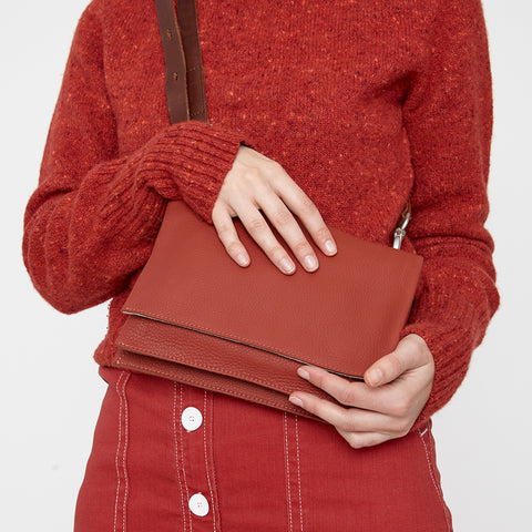 Irenie Small Rochelle Leather Crossbody Bag in Brick Red