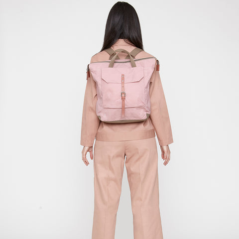 Frances Waxed Cotton Utility Rucksack in Chalky Pink