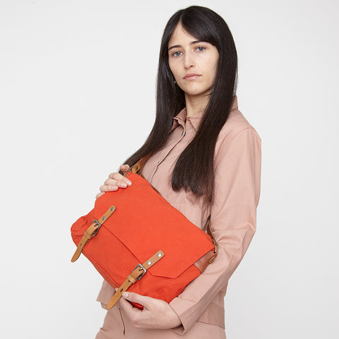 Jeremy Small Waxed Cotton Satchel in Flame Orange