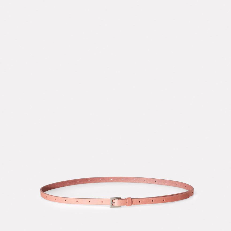 Etty Slim Leather Belt in Chalky Pink