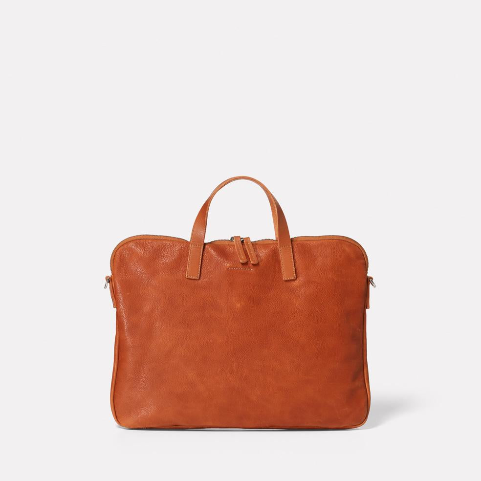 Marcus Calvert Leather Folio Bag in Tan