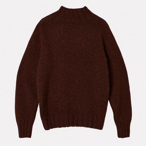 Mens Cashmere and Merino Knit Turtleneck in Currant