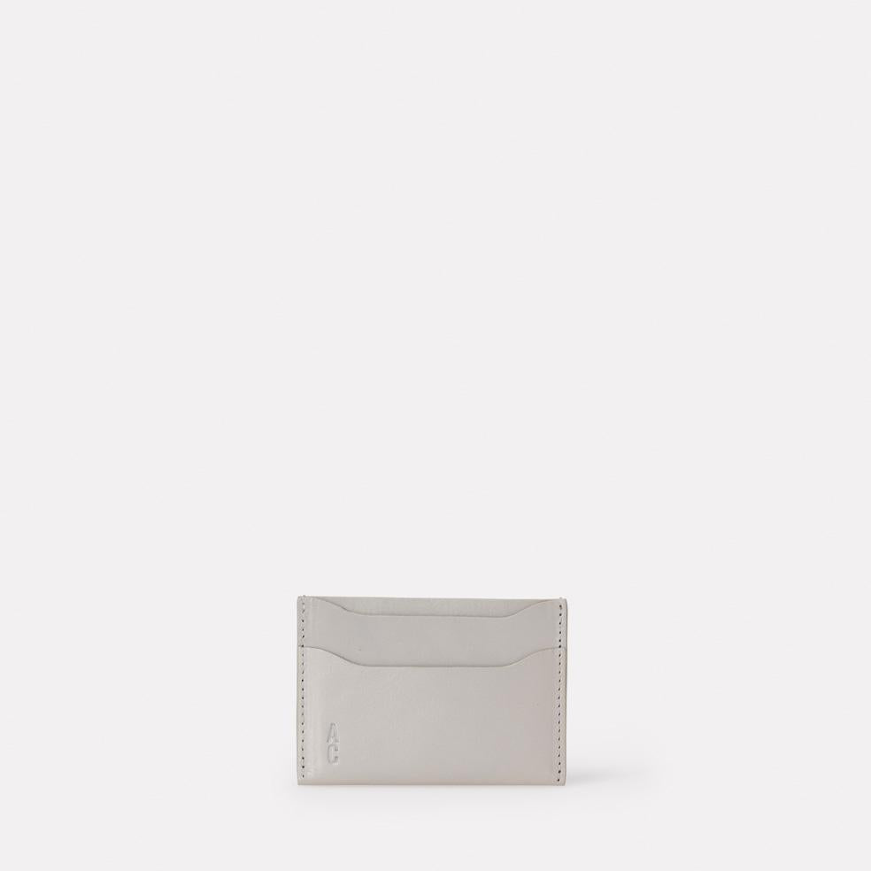 Pete Leather Card Holder in Light Grey