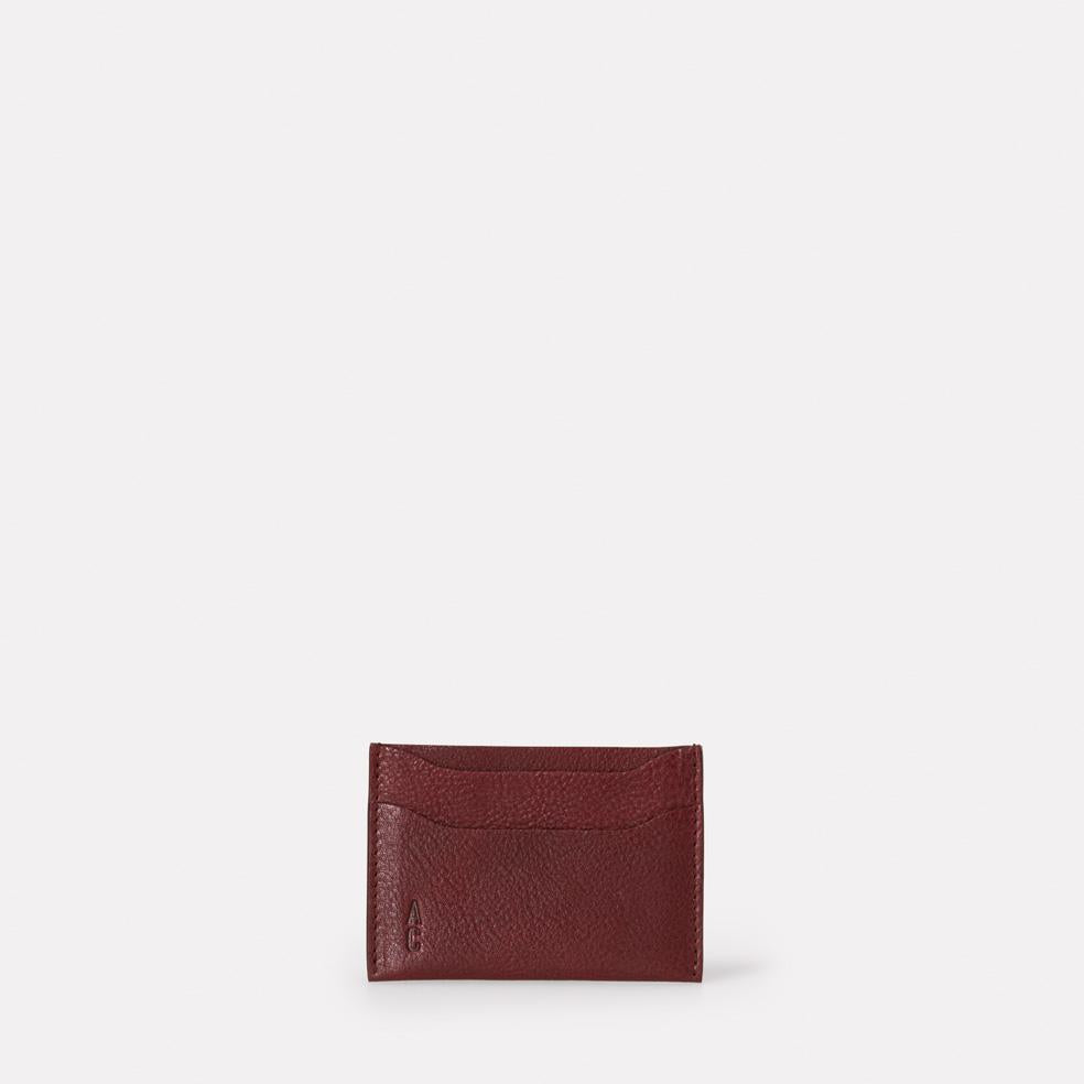 Pete Leather Card Holder in Plum
