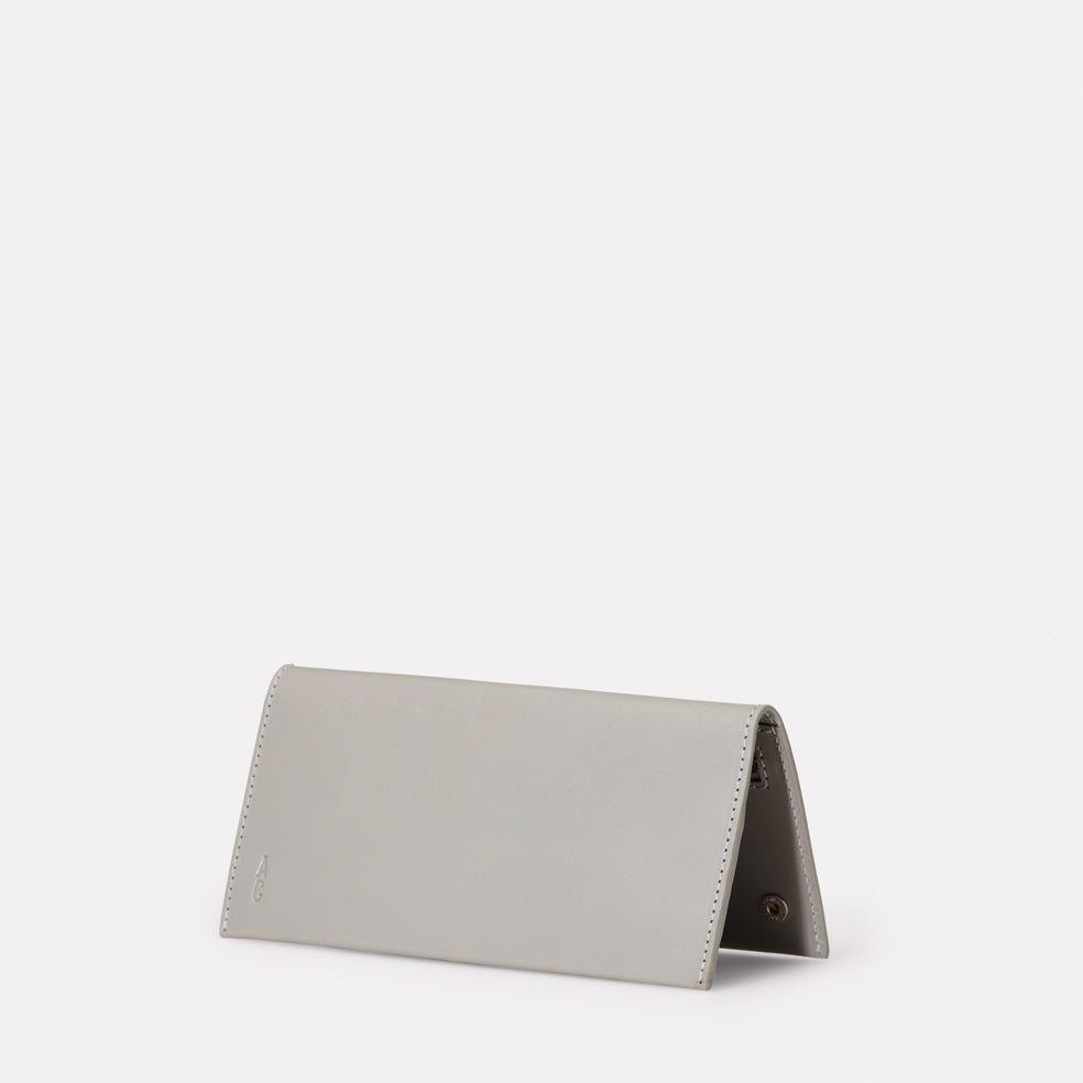 Evie Long Leather Wallet in Light Grey