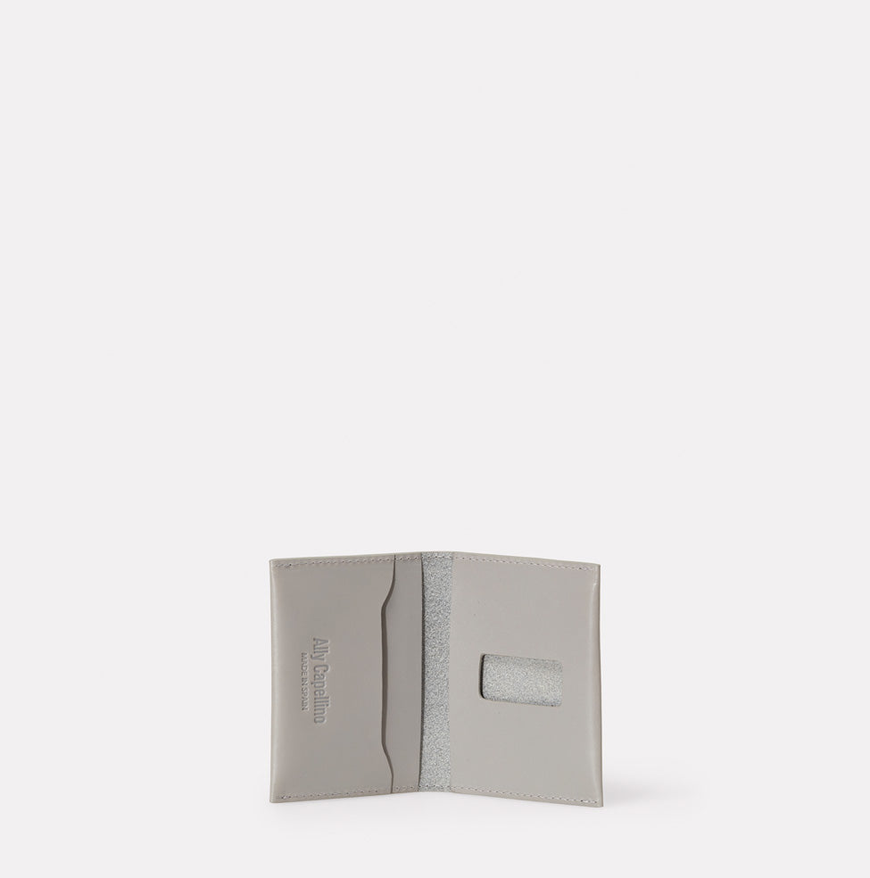 Fletcher Leather Card Holder in Light Grey