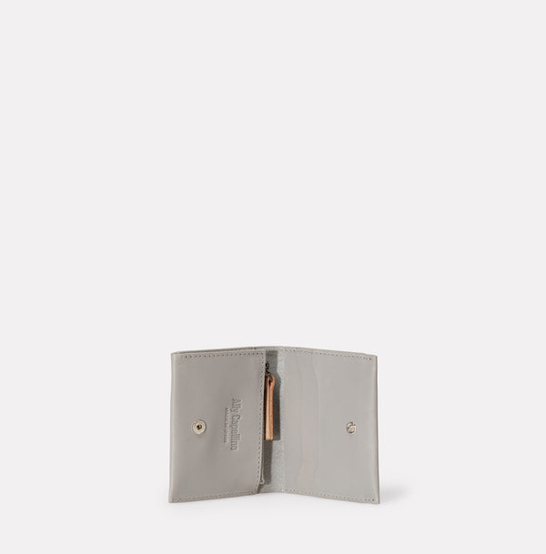 Riley Leather Coin Card Purse in Light Grey