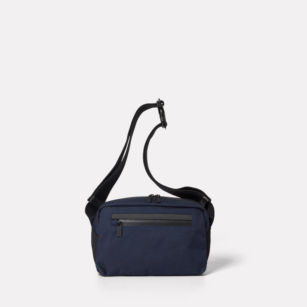 Ally Capellino, Leather, Shoulder bag, bag, East London, Portabello Road, Small Cycle Satchel, cycle bodybag, small commuter, navy small satchel, navy shoulder bag,