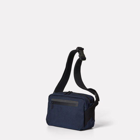 SS19, mens, womens, travel and cycle, nylon, crossbody bag, body bag, bodybag, navy, navy crossbody bag, navy body bag, water resistant, water resistant crossbody bag reflective, cycle bag, blue, blue cycle bag, blue crossbody bag, blue travel bag,
