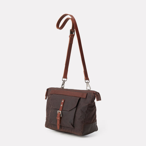 Francesca Waxed Cotton Crossbody Bag in Dark Brown