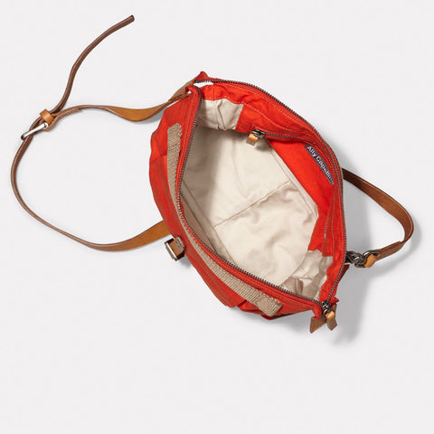 Francesca Waxed Cotton Utility Rucksack in Flame Orange