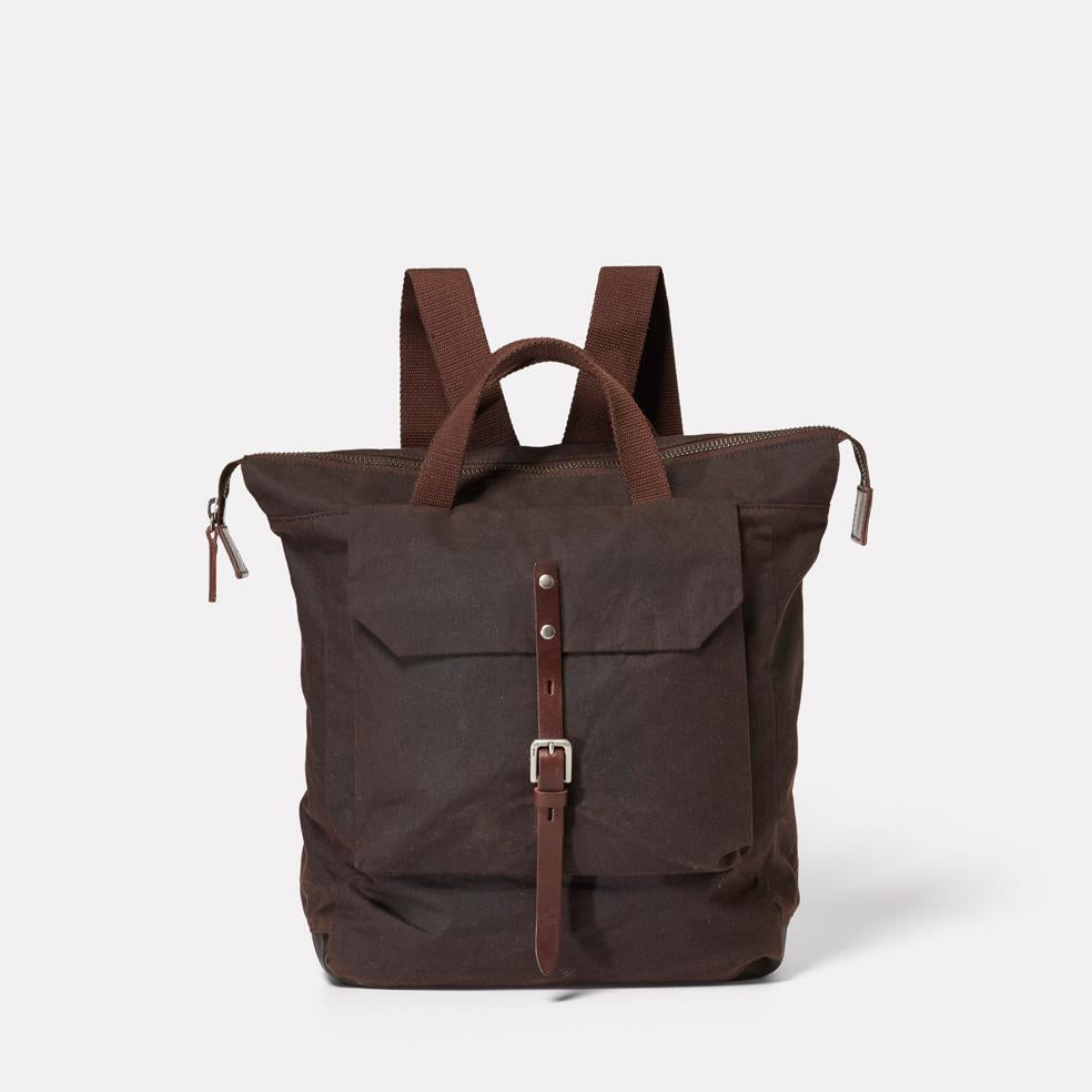 Frances Waxed Cotton Utility Rucksack in Dark Brown