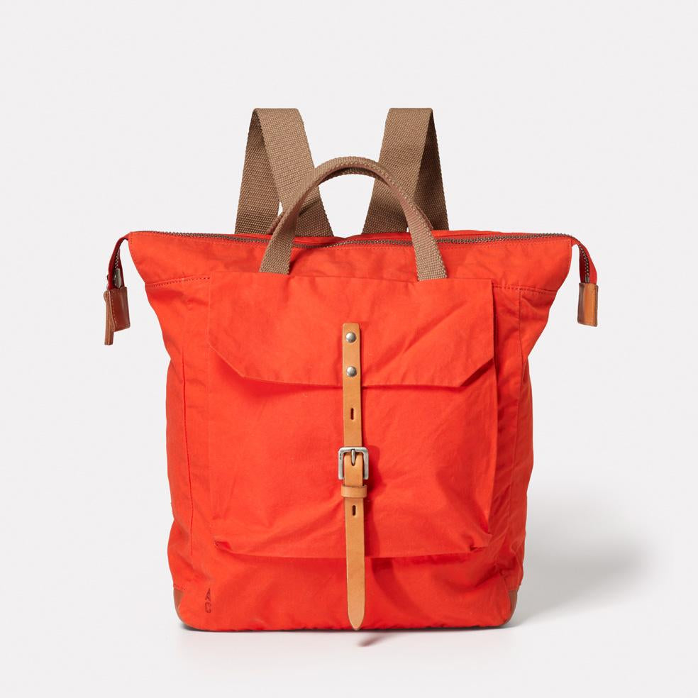 Frances Waxed Cotton Utility Rucksack in Flame Orange