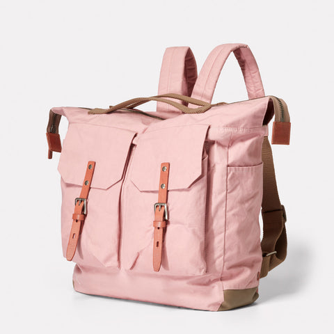 Frank Large Waxed Cotton Utility Rucksack in Chalky Pink