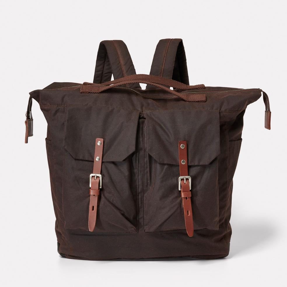 Frank Large Waxed Cotton Utility Rucksack in Dark Brown