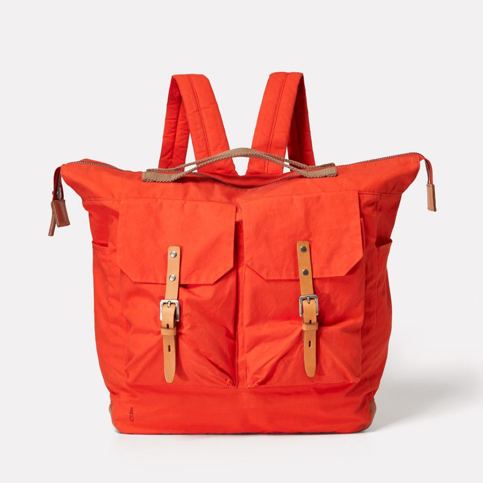Frank Large Waxed Cotton Utility Rucksack in Flame Orange