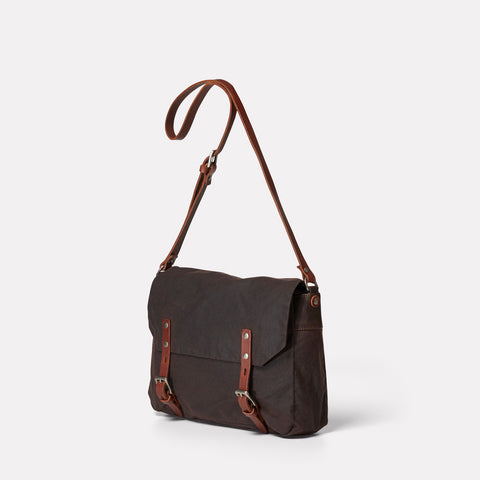 Jeremy Small Waxed Cotton Satchel in Dark Brown