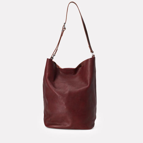 Lloyd Calvert Leather Bucket Bag in Plum