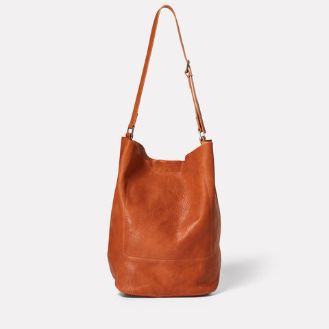 Lloyd Calvert Leather Bucket Bag in Tan