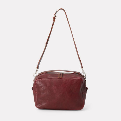 Leila Large Calvert Leather Crossbody Bag in Plum