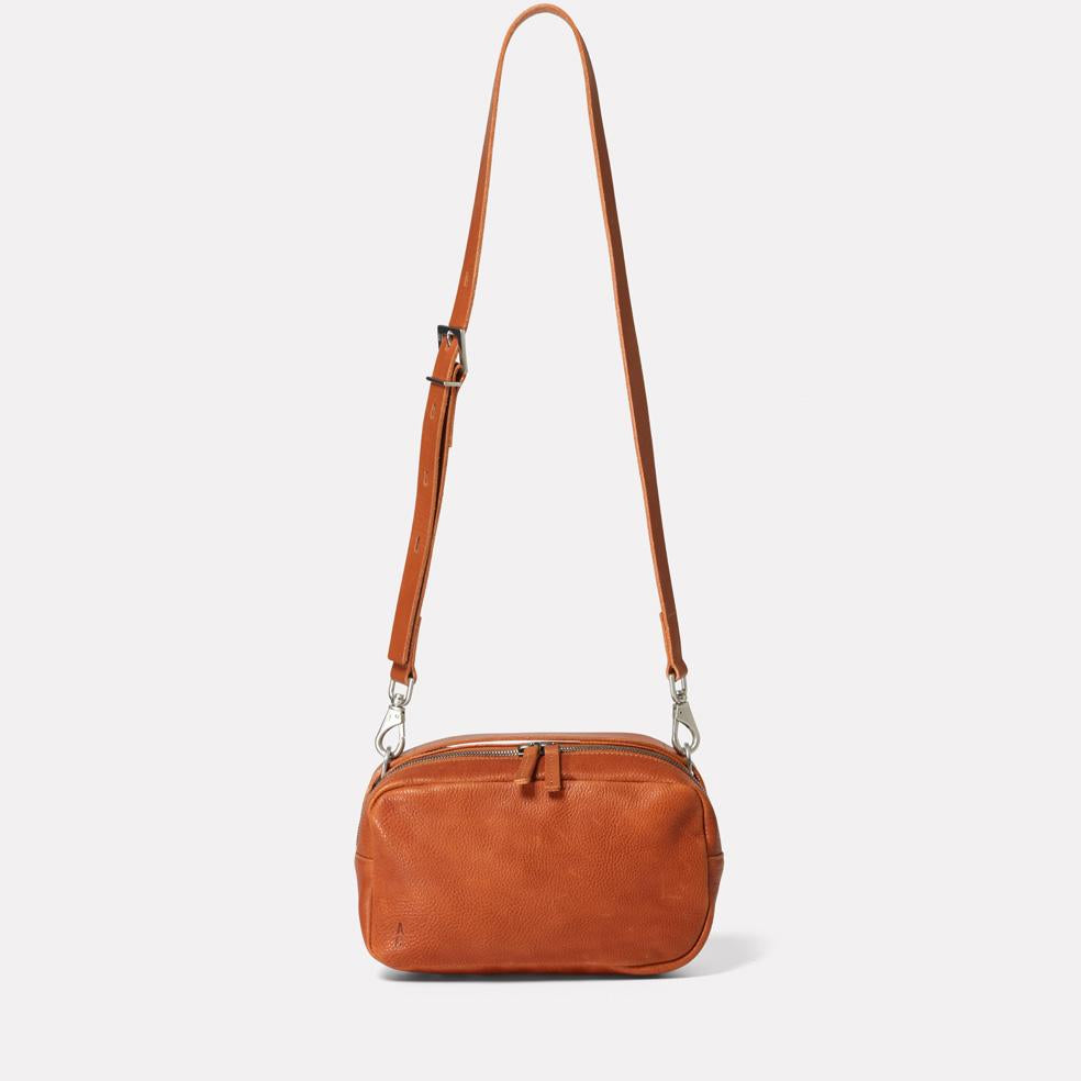 Leila Medium Calvert Leather Crossbody Bag in Tan